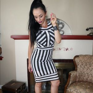 TopShop mesh lined black white stripe dress